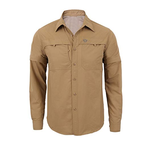Fashion Men's Quick-Drying Casual Military Pure Color Long Sleeve T-Shirt Tops Khaki