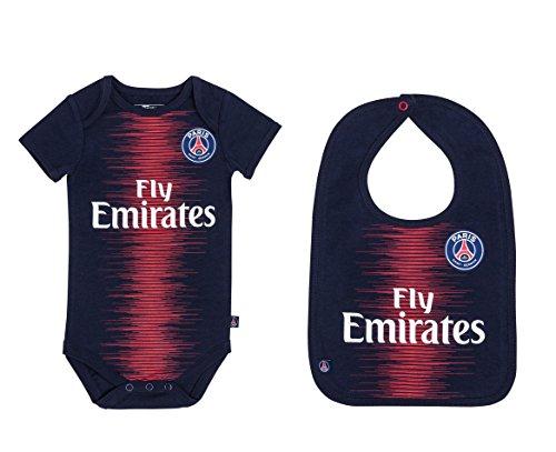Paris Saint Germain Babybody + Lätzchen PSG – Trikot Fly Emirates – Offizielle Kollektion 24 Monate blau