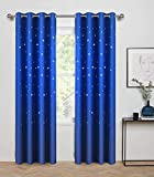 Anjee Blackout Curtains with Die Cut Stars for Bedroom-Starry Night Sleep-Enhancing Cosmic Themed Twinkle Drapes for Baby Nursery, Light Blocking Draperies (2-Panel W52 x L84 Inch, Royal Blue)
