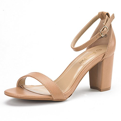 DREAM PAIRS Women's Chunk Nude Pu Low Heel Pump Sandals - 8.5 M US
