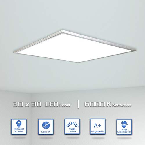 [Pro High Lumen]OUBO LED Panel 30x30cm Kaltweiß 6000K 1900 Lumen Weißrahmen quadratisch 18W LED Wandleuchte Deckenleuchte für Labors, Küche, Badezimmer, Hobbyräume, inkl. Netzteil