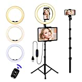 Ring Light with Stand and Phone Holder, 10'' LED Selfie Ring Light with Tripod (17''-73'') Bluetooth Remote for iPad/Tablet/Video Recording/Live Stream/Makeup/YouTube/Photography/Camera, 3 Color Modes