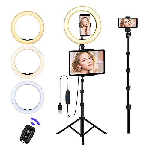 Ring Light with Stand and Phone Holder,10'' LED Selfie Ring Light with Tripod (17''-73'') Bluetooth Remote for iPad/Tablet/Video Recording/Live Stream/Makeup/YouTube/Photography/Camera,3 Color Modes
