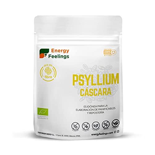 Energy Feelings Psyllium Husk BIO   Cáscara de Psyllium Ecológico   Psyllium Sin Gluten   Prebiótico   Fibra Saciante   Psyllium Entero con Cáscara   200 gr