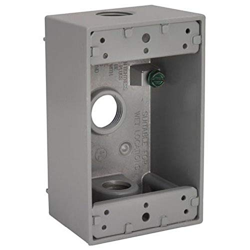 Hubbell-Bell 5320-9 Weatherproof Box, 4-1/2-Inch X 2-3/4-Inch, (1) Gang, 2-Inch Deep, (3) 1/2-Inch Outlets, Gray