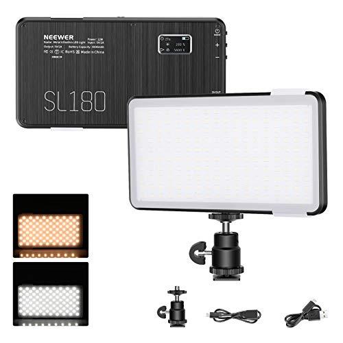 Neewer SL180 Luce Video LED - Luce LED Tascabile per Fotocamera con 4000mAh Batteria Integrata/ 3200K-5600K Bicolore/CRI95+/Corpo in Lega di Alluminio Premium per Fotografia, Vlogging e Streaming