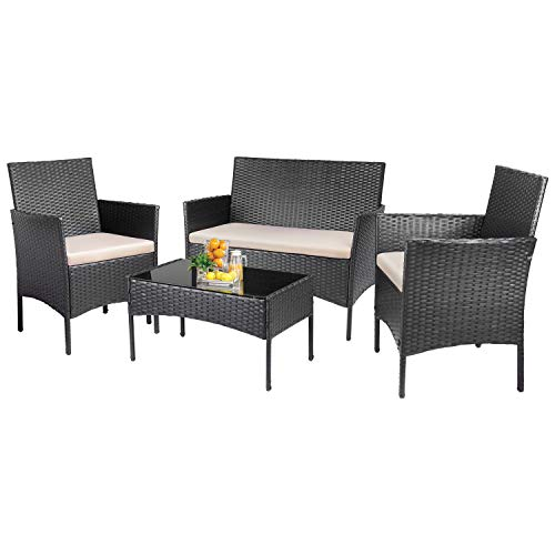 KaiMeng Patio Outdoor 4 Pieces Indoor Use Conversation Sets Rattan Wicker Chair with Table Backyard Lawn Porch Garden Poolside Balcony Furniture, Black