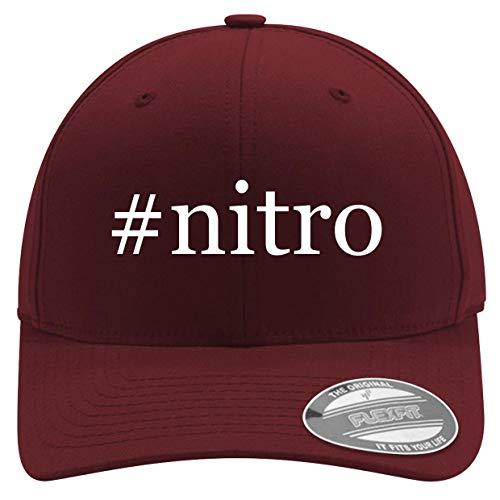 #Nitro - Men's Hashtag Soft & Comfortable Flexfit Baseball Hat, Maroon, Small/Medium