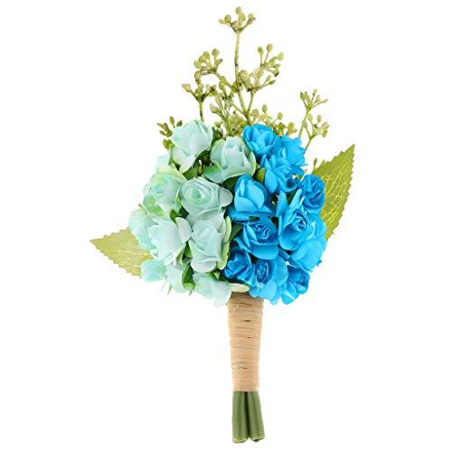 kowaku Vintage Flor de Papel Ramillete Boutonnieres Novia Novio Boda Hombres Traje Decoración - Azul Claro, Individual
