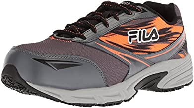 Fila Men's Memory Meiera 2 Slip Resistant Composite Toe Trail Running Shoe Food Service, Castlerock/Black/Vibrant Orange, 10