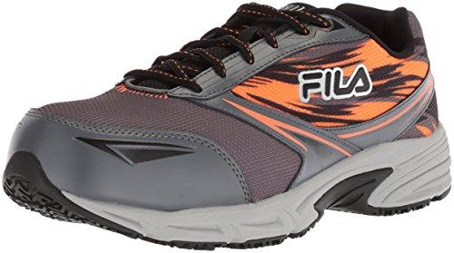 Fila Men's Memory Meiera 2 Slip Resistant Composite Toe Trail Running Shoe Food Service, Castlerock/Black/Vibrant Orange, 9