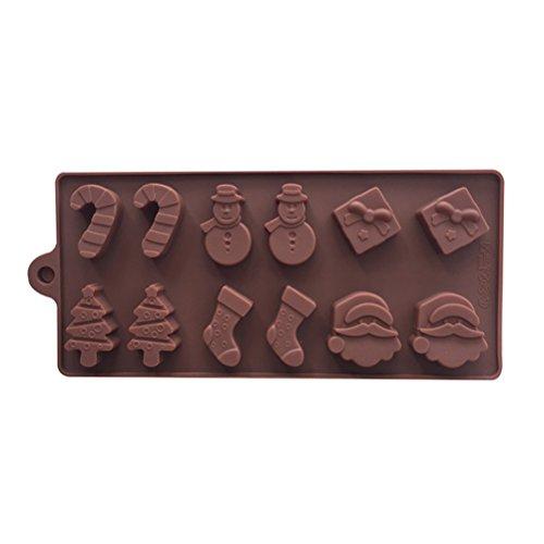 OUNONA 12 Hohlraum Silikon Formen Muffin Cupcake Backen Fondant Kuchen Formen Eisw¨¹rfelbehlter f¨¹r die Herstellung Weihnachten S¨¹igkeiten Schokolade Muffin Cupcake (Kaffee)