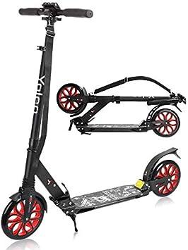 YOLEO Patinete Adulto Rueda Grande, Plegable Patinete niño 12 años, Altura Ajustable 90-104 cm, Scooter Adulto Kickscooter City Roller para Adultos y ...