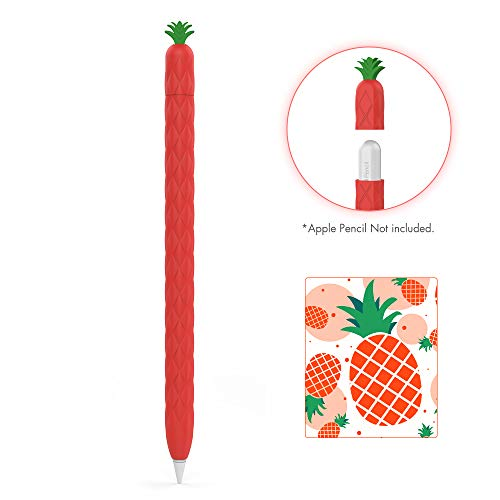 AhaStyle Silicone Case Sleeve Cute Fruit Design Soft Protective Cover Accessories Compatible with Apple Pencil 2nd Generation, iPad Pro 11 12.9 inch(Red)