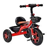 Coche Triciclo Niño,Triciclo Bebe Bicicleta Banda de Goma Ruedas de Gomas y Conducción Silenciosa para Niños de 6 Meses a 5 Años Máx 30 kg, Red