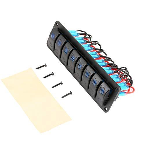 YXDS Panel de interruptores basculantes para Caravana de Barcos Marinos a Prueba de Agua, disyuntor LED de 12 V, 8 interruptores, protección contra sobrecarga, anticorrosión