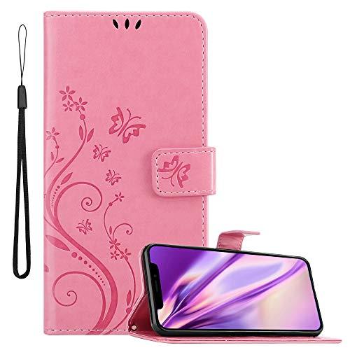 Cadorabo Hülle für Apple iPhone 11 (XI) in FLORAL ROSA Handyhülle im Blumen Design mit Magnetverschluss, Standfunktion & 3 Kartenfächern Hülle Cover Schutzhülle Etui Tasche