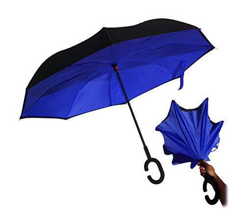 Paraguas Reversible invertido antiviento autosecado (Azul)