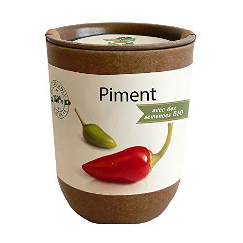 Feel Green Ecocan, Piment Certifiées Bio, Idée Cadeau (100% Biodégradable), Grow-Your-Own/Kit Prêt-à-Pousser, Le Pot Écologique Qui Croît 9 x 7 cm, Produit en Autriche
