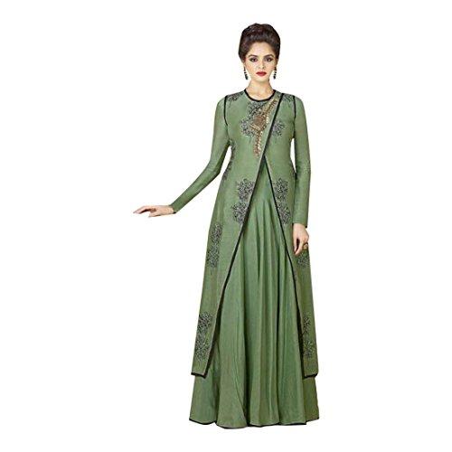 ETHNIC EMPORIUM Damen Grünes stilvolle lange Kleid-Kleid Bereit Salwar Kameez muslimische Frauen Abaya Festliche Rakhi Eid Anzug 2852 tragen...