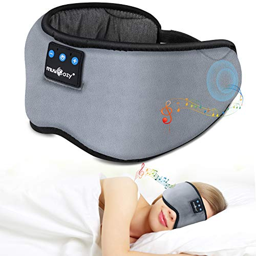 Bluetooth Sleep Eye Mask Wireless Headphones, TOPOINT Upgrade Sleeping Travel Music Eye Cover Bluetooth Headsets with Microphone Handsfree, Long Play Time, Black (Grey)