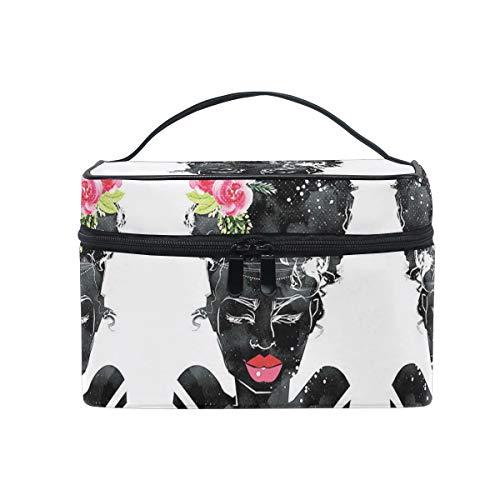 Les Gens De L'Art Noir Rose Rose Sac Cosmétique Organisateur Fermeture à Glissière Sacs Trousse de Maquillage Pochette Cas de Toilette pour Voyage Les Femmes Filles