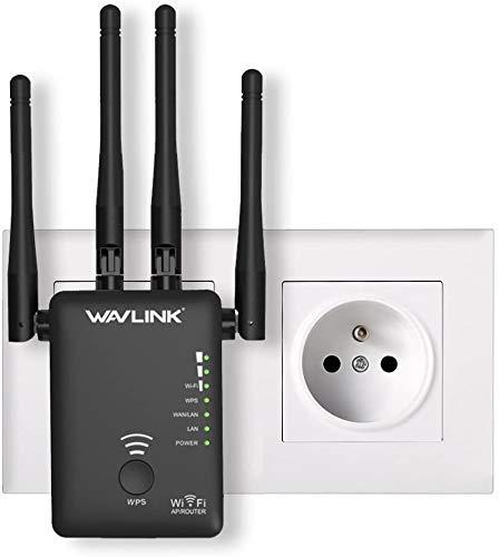 WAVLINK AC1200 WLAN Verstärker, Dual-WLAN Verstaerker kompatibel mit Allen WLAN Geräte, WLAN Repeater Signal(WLAN Repeater/Router/Wireless Access Point Modus, WPS, Plug & Play, 2 Ethernet Ports)