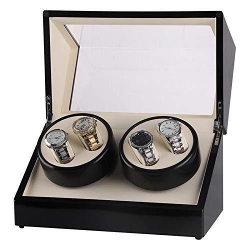 Uhrenbeweger für 4 Automatikuhren Uhrendreher Watch Winder Uhrenbox Holz Vitrine (Schwarz)