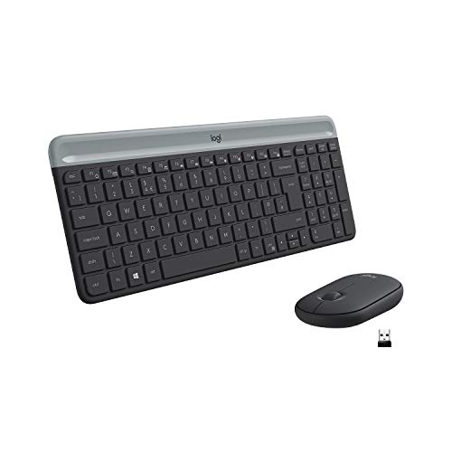 Logitech MK470 Slim Combo Kabelloses Tastatur-Maus-Set, 2.4 GHz Verbindung via Nano-USB-Empfänger, 10m Reichweite, 18-Monate Batterielaufzeit, PC/Laptop, Englisches QWERTY-Layout - schwarz/graphit