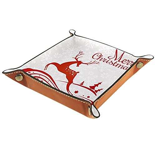 LXYDD Caja de Almacenamiento Multiusos con Bandeja Valet de Cuero Organizador de bandejas Se Utiliza para almacenar pequeños Accesorios,Tarjeta de felicitación de Navidad con Ciervos