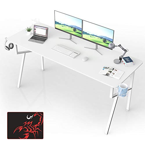 Eureka Ergonomic Gaming Computer Desk, 63 inch Large Study Writing Desk for Home Office PC Table with Mouse Pad Headset Hook Cup Holder, K Shape Metal Frame - White