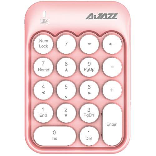 FELiCON AK18 Tastierino numerico a 18 Tasti, Compatto, Portatile, Silenzioso, per Windows, iMac MacBook e Computer Portatile, Desktop PC Portatile, Tipo di immissione Dati (Bianco Rosa)