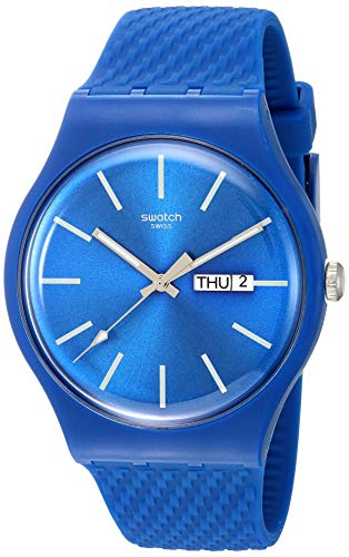 Swatch Herren Analog Quarz Uhr mit Silikon Armband SUON711