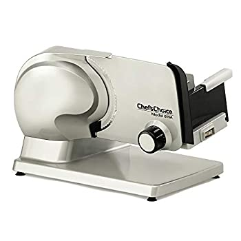 Chef sChoice Electric Meat Slicer Features Precision thickness Control & Tilted Food Carriage For Fast & Efficient Slicing with Removable Blade for Easy Clean 7-inch Gray