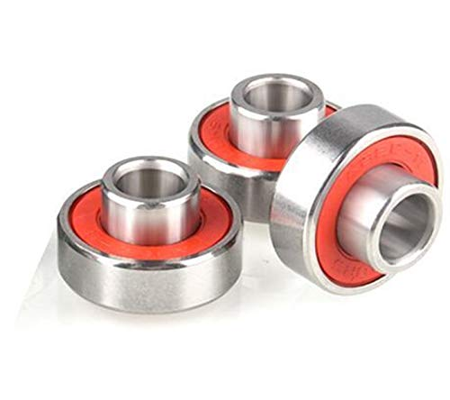 Kugellager 3 stücke 608-2rs Inline-Roller-Skate-Radlager-Anti-Rost-Skateboard-Radlager 8x22x12.6mm mit Welle (Farbe : Red, Inner Diameter : 8mm)