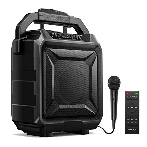 Bomaker Karaoke Anlage 500 Watt Tragbar PA Anlage DJ Party Lautsprecher mit Akku, unterstützt Bluetooth, Gitarre, AUX, USB, FM. (Dunkel)