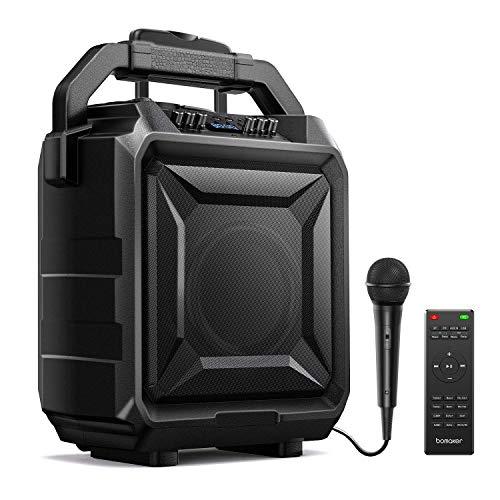 Bomaker Tragbar PA-Anlage, 500W Karaoke Anlage Bluetooth DJ Party-Lautsprecher mit Akku, Mikrofon&Fernbedienung, 6 EQ Modi,Surround Sound System, kompatibel mit Gitarre, AUX, USB & FM