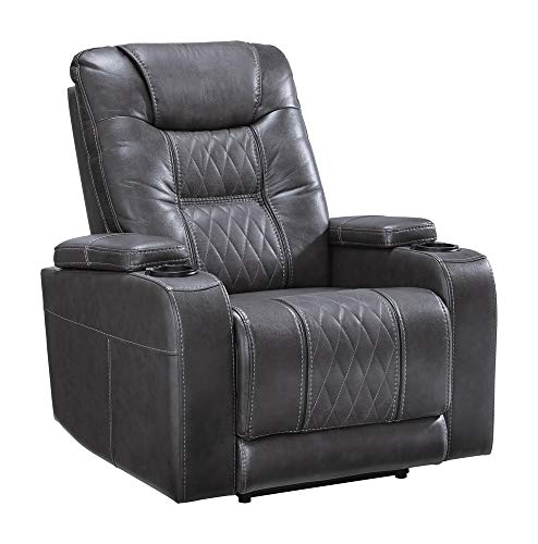 Signature Design by Ashley - Composer Modern Faux Leather Power Recliner - LED Lighting - Power Adjustable Headrest - Gray