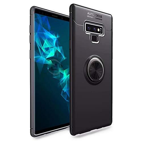 NALIA Ring Hülle kompatibel mit Samsung Galaxy Note 9, Schutzhülle Cover magnetische Silikon Handyhülle für KFZ-Halterung 360-Grad Finger-Halter, Hülle Ständer Slim Etui Bumper, Farbe:Schwarz