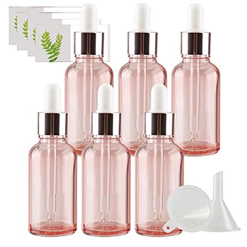 TIANZD 6 Pieza 30mlRosa Botellas de Cristal con Pipeta,30 ml Frasco Cuentagotas Cristalcon Tapón de Rosca Rosa, Botella de Vidrio con Cuentagotas para Aceite Esencial Aromaterapia