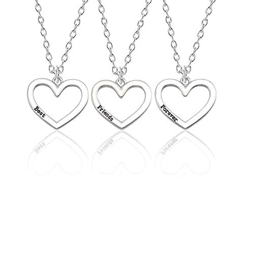 TECH-LINE-DIRECT Best Friend Forever Best Bitches 3Piece Love Break Heart Friendship Necklace Set