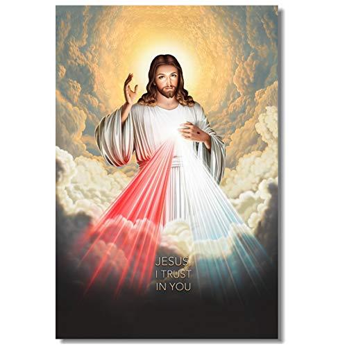 QINGRENJIE Lienzo Pintura de Pared Divina Misericordia de Jesús Cartel Confío en ti Etiqueta de la Pared Jesucristo Dios te Bendiga Fondo de Pantalla 50X75Cm Sin Marco