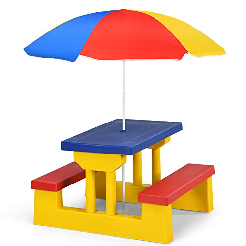 COSTWAY Kids Picnic Table, Indoor & Outdoor Table and Bench Set with Removable Umbrella, Children Garden Furniture Parasol for Girls Boys (Yellow + Red + Blue)