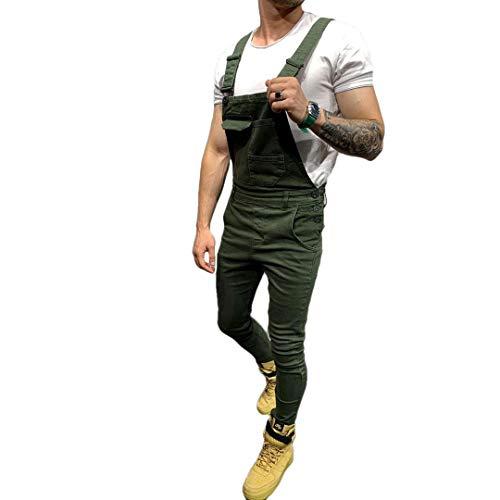 Pantaloni in denim da uomo, salopette salopette Stonewash Jeans tuta Verde L