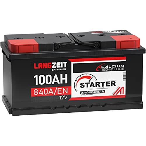 LANGZEIT Autobatterie 100AH 12V Batterie 30% mehr Startleistung ersetzt 88Ah 90Ah 92Ah 95Ah 100Ah