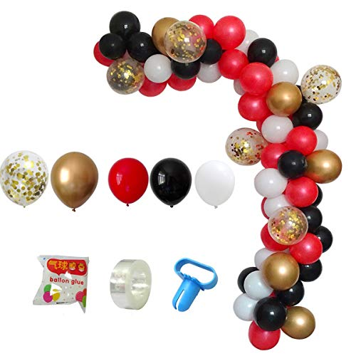 DIY Balloon Arch & Garland Kit, 113Pcs Party Balloons Decoration Set, Gold Confetti Balloons & Gold Red Black White Latex Balloons for Baby Shower, Wedding, Birthday, Graduation Party