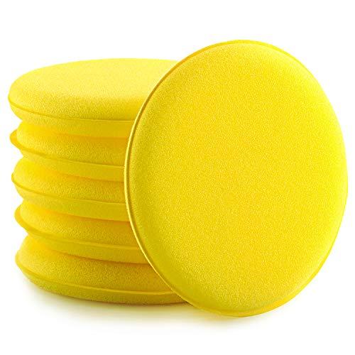 Auto Wachs Applikator Polster, 6 Stücke Mikrofaser Applikator Ultra-Weiches Auto Polieren Pad Mikrofaser Schwamm Applikator Gelbe Farbe Auto Wachs Reinigung Pads
