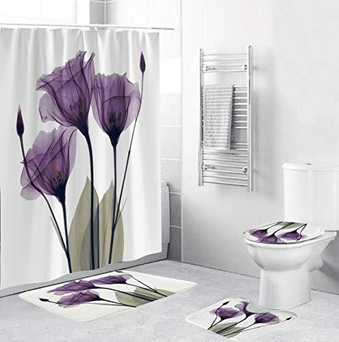 4PCS/Set Shower Curtain,Toilet Lid Cover Sets with Non-Slip Rug Bath Mat Bathroom,Hooks,Polyester,Purple Elegant Flower Floral Tulip Lavender 72x72 Inch