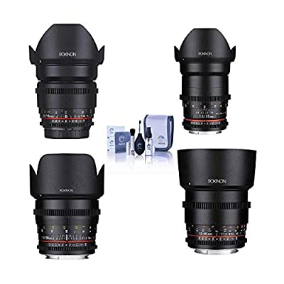 Rokinon Cine DS Lens Kit for Micro Four Thirds Consists of 16mm T2.2 Lens, 35mm T1.5 Lens, 50mm T1.5 Lens, 85mm T1.5 Lens, Cleaning Kit from Rokinon