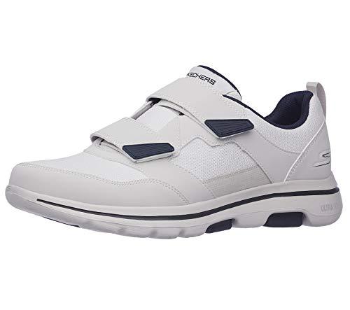 Skechers Men's Gowalk 5 Wistful-Athletic Hook and Loop Walking Shoe with Air Cooled Foam Sneaker, White/Navy, 9.5